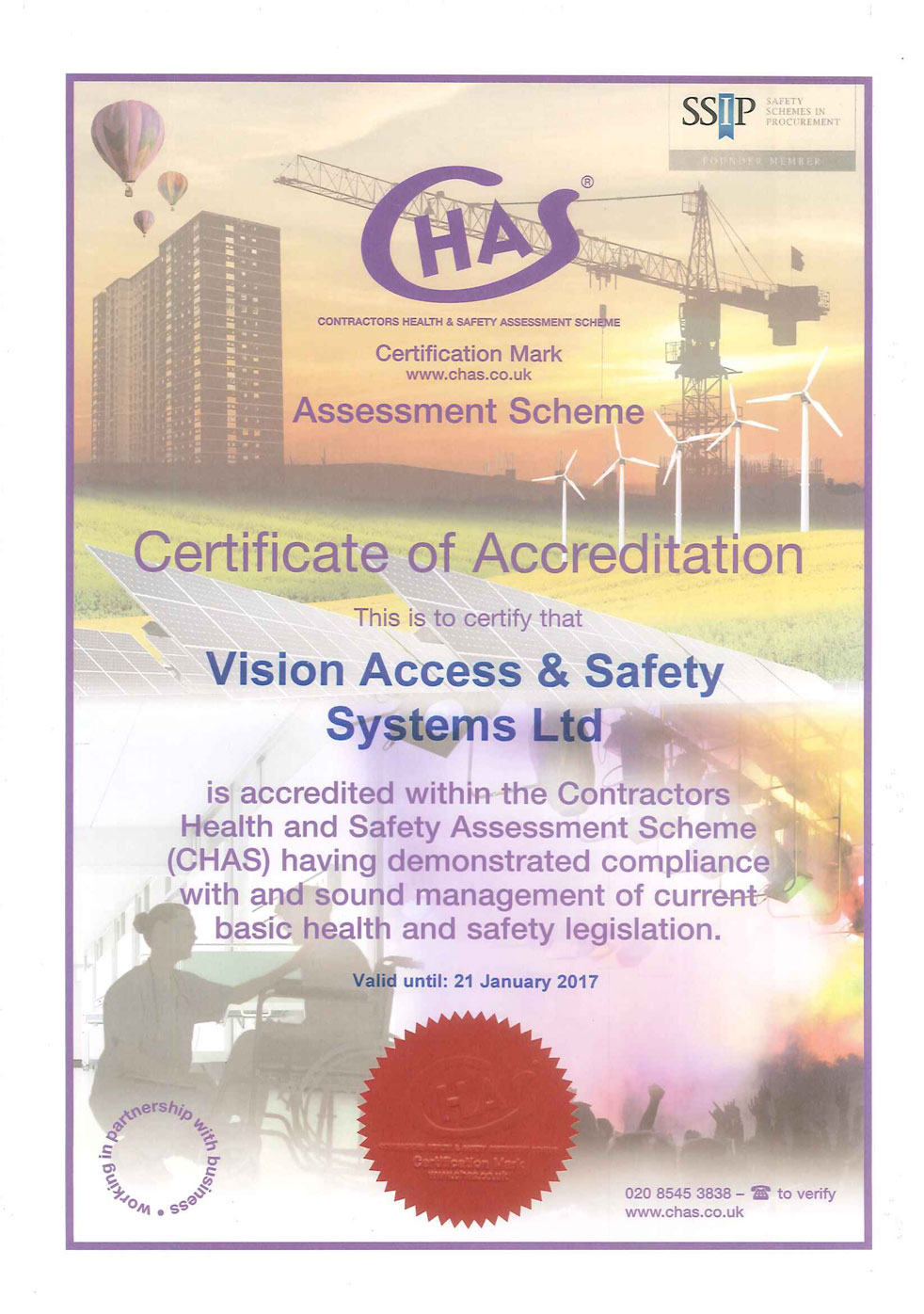 Vision Access CHAS Certificate