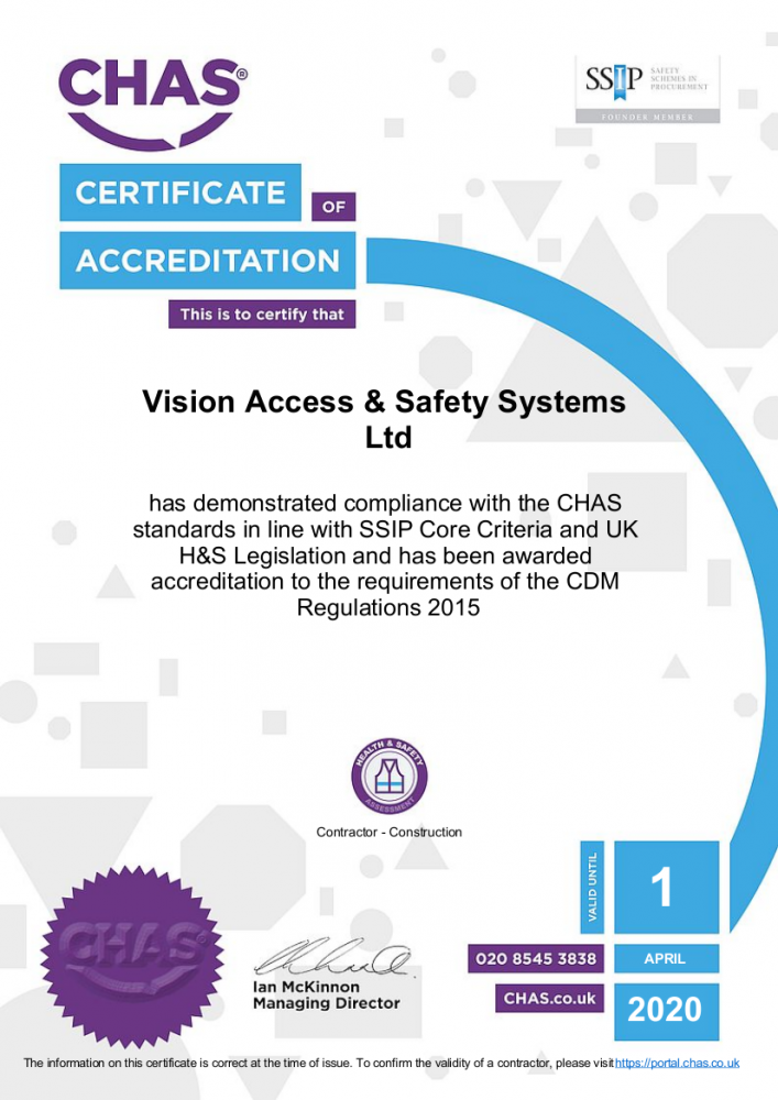 SSIP CHAS certificate of accreditation (Vision Access)