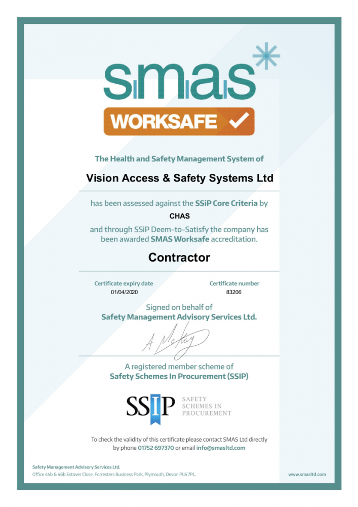 SMAS Worksfae health and safety certificate (Vision Access)